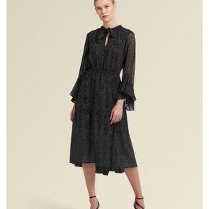 DKNY tie-neck midi dress, printed black